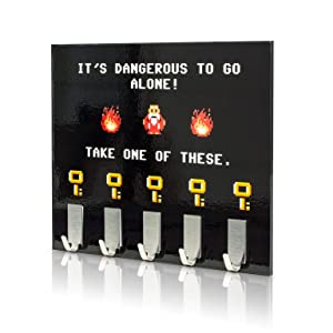 getDigital 8459 Dangerous to go alone - key rack, geeky key holder for your wall with 5 metal hooks, 8.27 x 6.29 inch