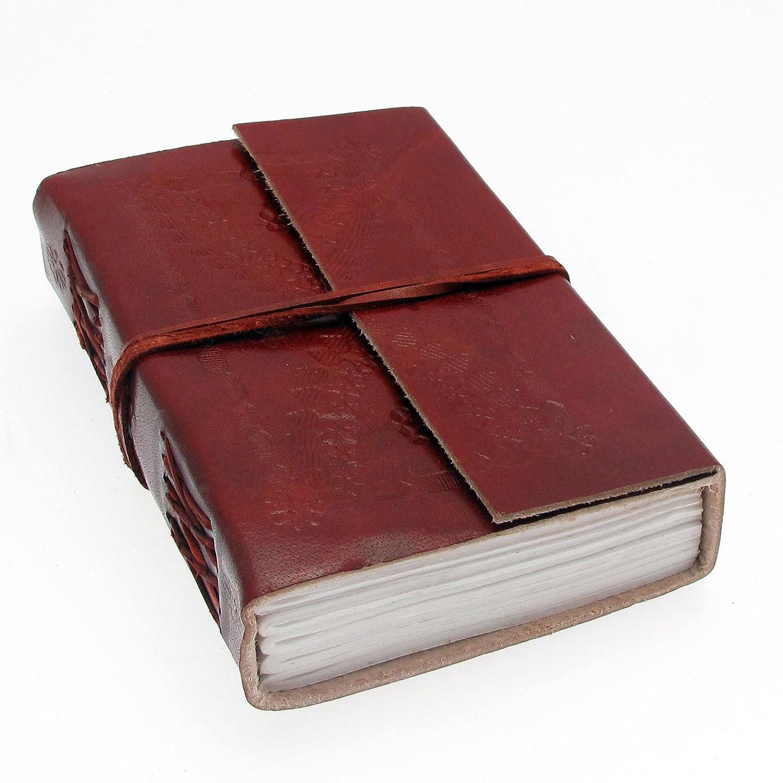 Fair Trade Quaderno ricoperto in pelle 160 x 110 mm medio con goffratura Paper High