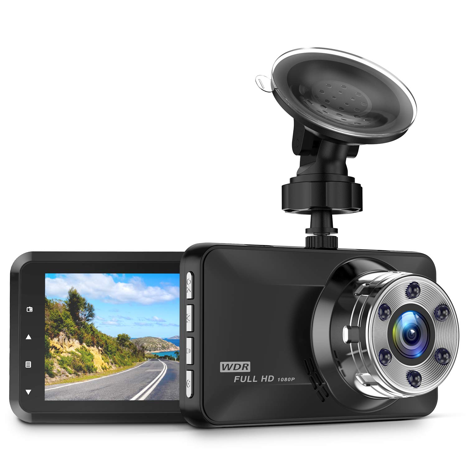 Dash Cam, Amuoc 1080P FHD DVR Car Driving Recorder 3 Inch LCD Screen 170° Wide Angle, G-Sensor, WDR, Parking Monitor, Loop Recording, Motion Detection by Amuoc