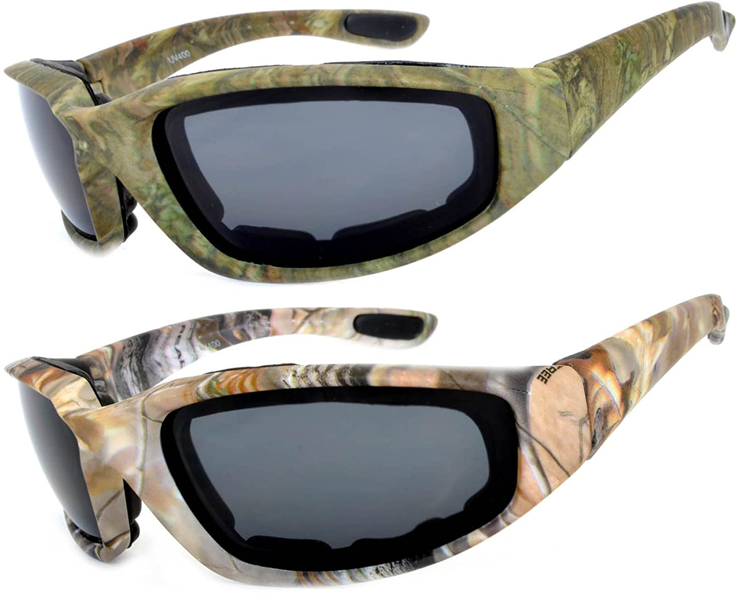 27b270192fcc1 Amazon.com  Motorcycle Polarized Padded Foam Glasses Smoke Lens Black Camo1  Frame Owl Brand  Clothing