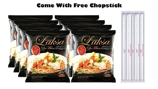 Prima Taste Laksa La Mian, Singapore Premium Noodles, Laksa Instant Noodles, Plus Free Chopsticks Pack Of 8 (Laksa) by Prima Taste