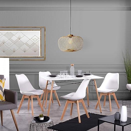 FURNITURE-R Franc - Mesa de Comedor con 4 sillas - Mesa de Comedor ...