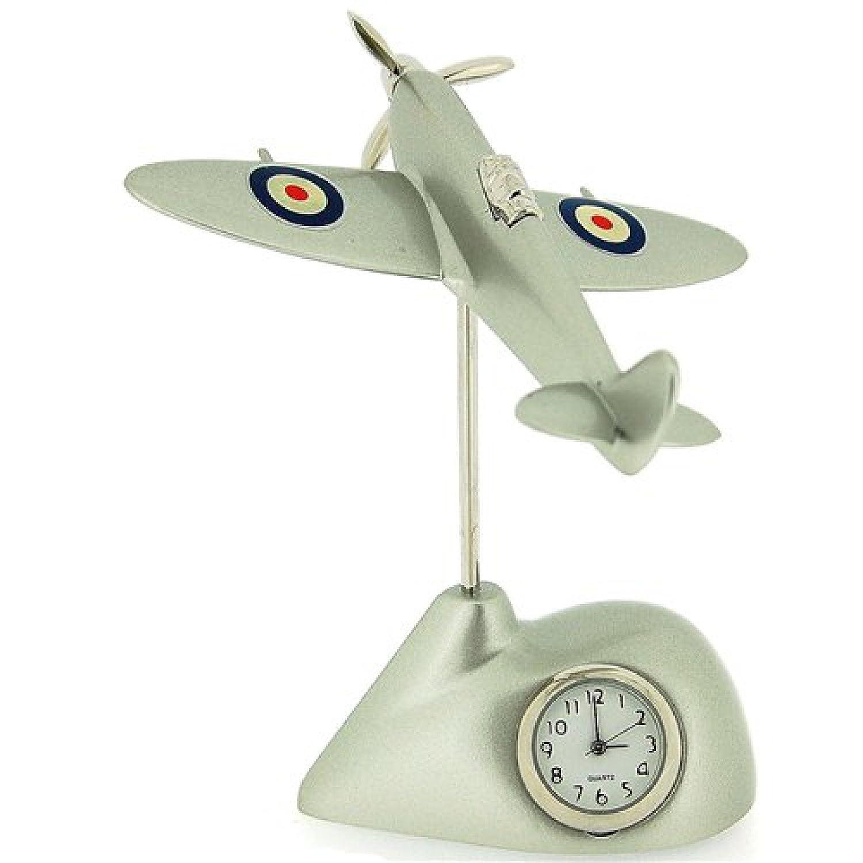 Miniature Silver Techno Flying Spitfire Novelty Desktop Collectors Clock 0487 Shudehill Giftware