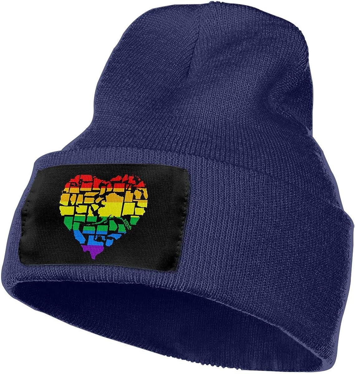QZqDQ American LGBT Heart Unisex Fashion Knitted Hat Luxury Hip-Hop Cap