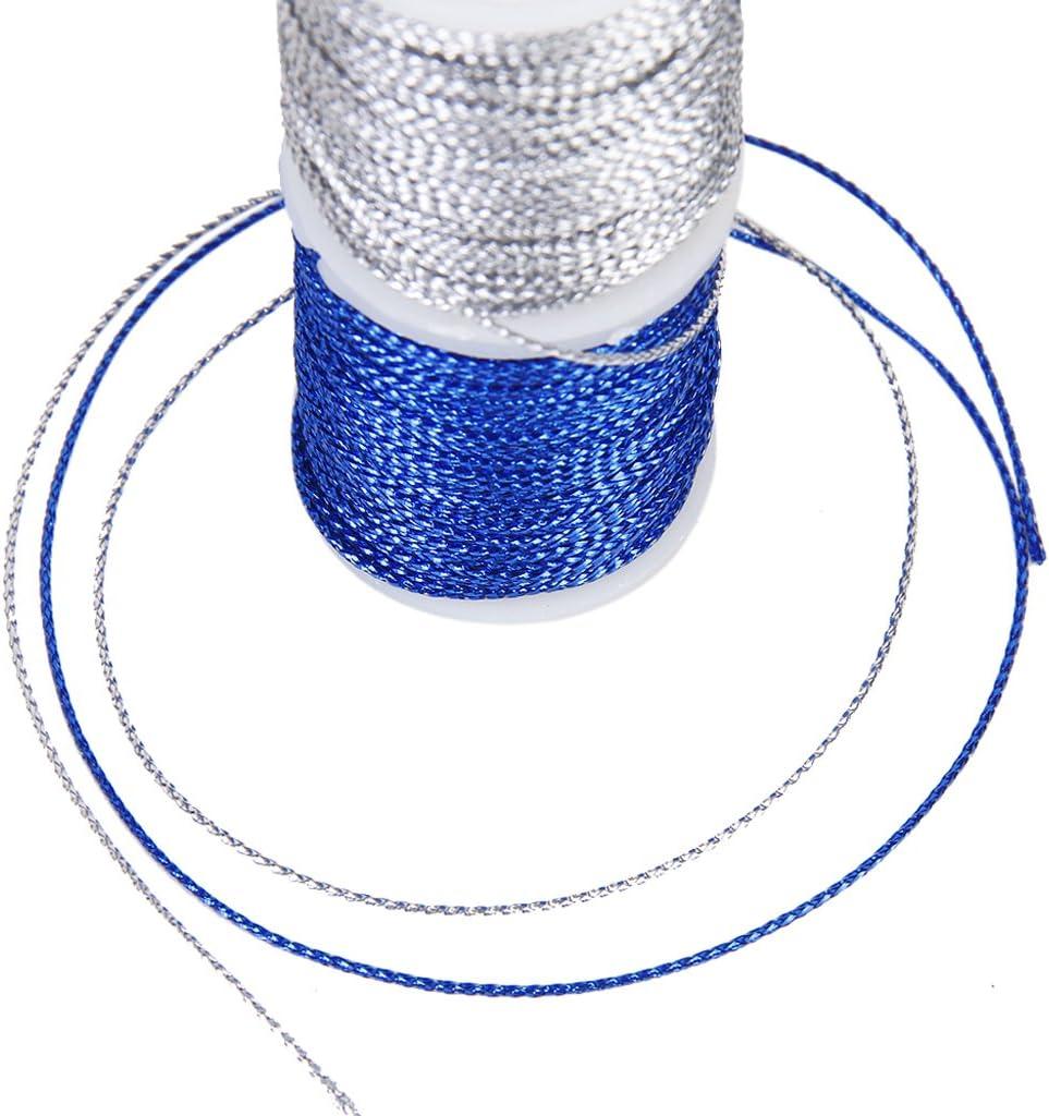 Bonarty 10x10M Met/álico Macrame Rebordear Joyas Hilo De Cuerda Cord/ón Trenzado 0.5mm Dia.
