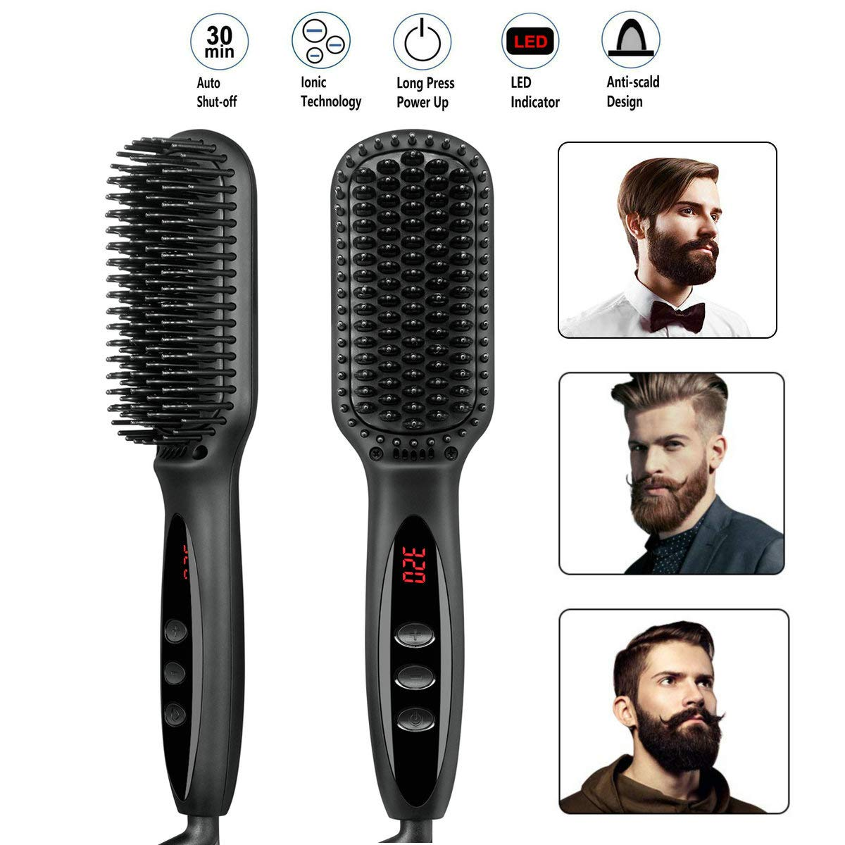 Beard Straightener Brush for Men Premium Hair Straightening Brush and Beard Comb Ionic Quick Hair Styling Comb for Men and Women Electric Heat Brush for Home and Travel black