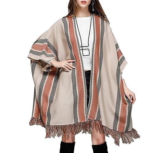Zhuhaitf Agradable Popular Tassel Knitted Shawl Womens Outerwear Long Style Bat Shirts Designer Swea...