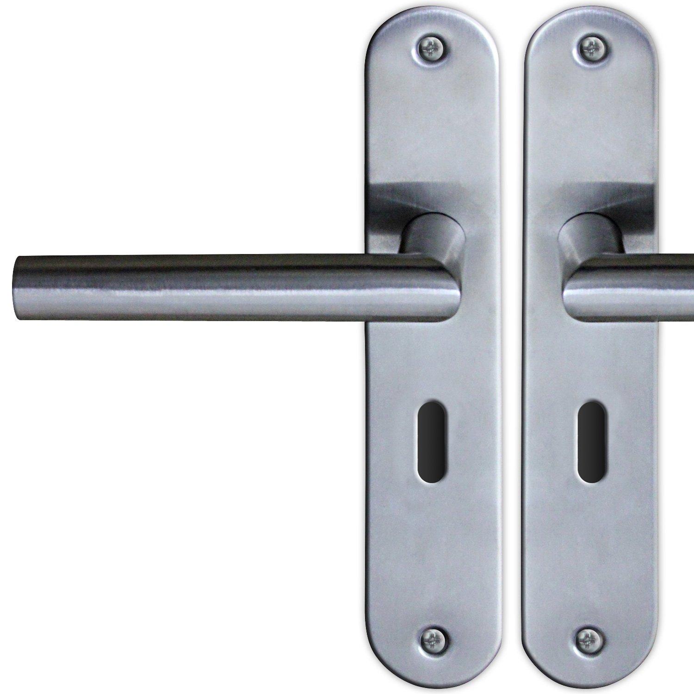 Poigné e de porte sur plaque longue BB avec trou de clé , en acier inoxydable - avec trou de clé , en acier inoxydable en acier inoxydable - avec trou de clé Jago
