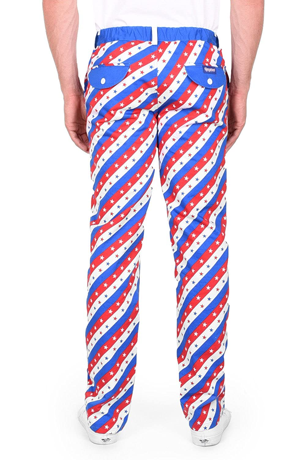590ae7c3faa0 Tipsy Elves Men s Red White and Blue Patriotic USA Pants - American Flag  Golf Pants at Amazon Men s Clothing store