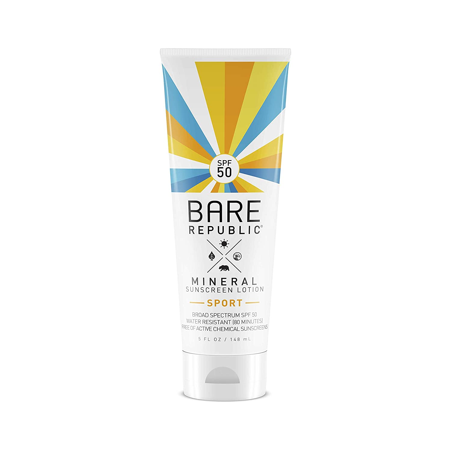 Bare Republic - Mineral Sport Sunscreen Lotion Broad Spectrum Coconut Vanilla 50 SPF - 5 fl. oz. COOLA Suncare