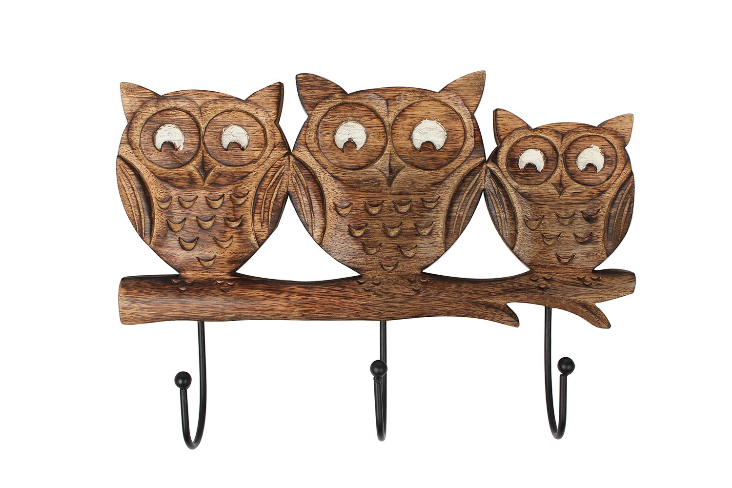 Store Indya – Wall Hooks Key Holders – Owl Wooden Coat Hangers
