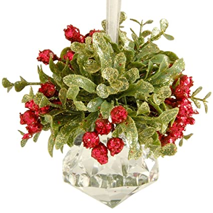 glittery hanging christmas mistletoe on acrylic prism ornament - Mistletoe Christmas