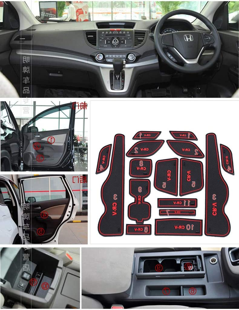 Door and Center Console Liner Interior Accessories Custom Fit Automotive Cup Holders for Honda CR-V 2008-2010,Latex Anti-dust Non-Slip Mats Red