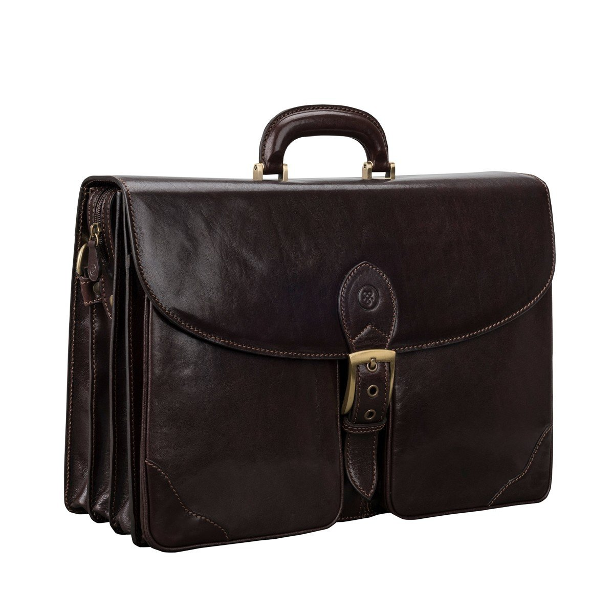 Maxwell Scott Luxury Leather Dark Brown Large Briefcase (The Tomacelli 3 section)