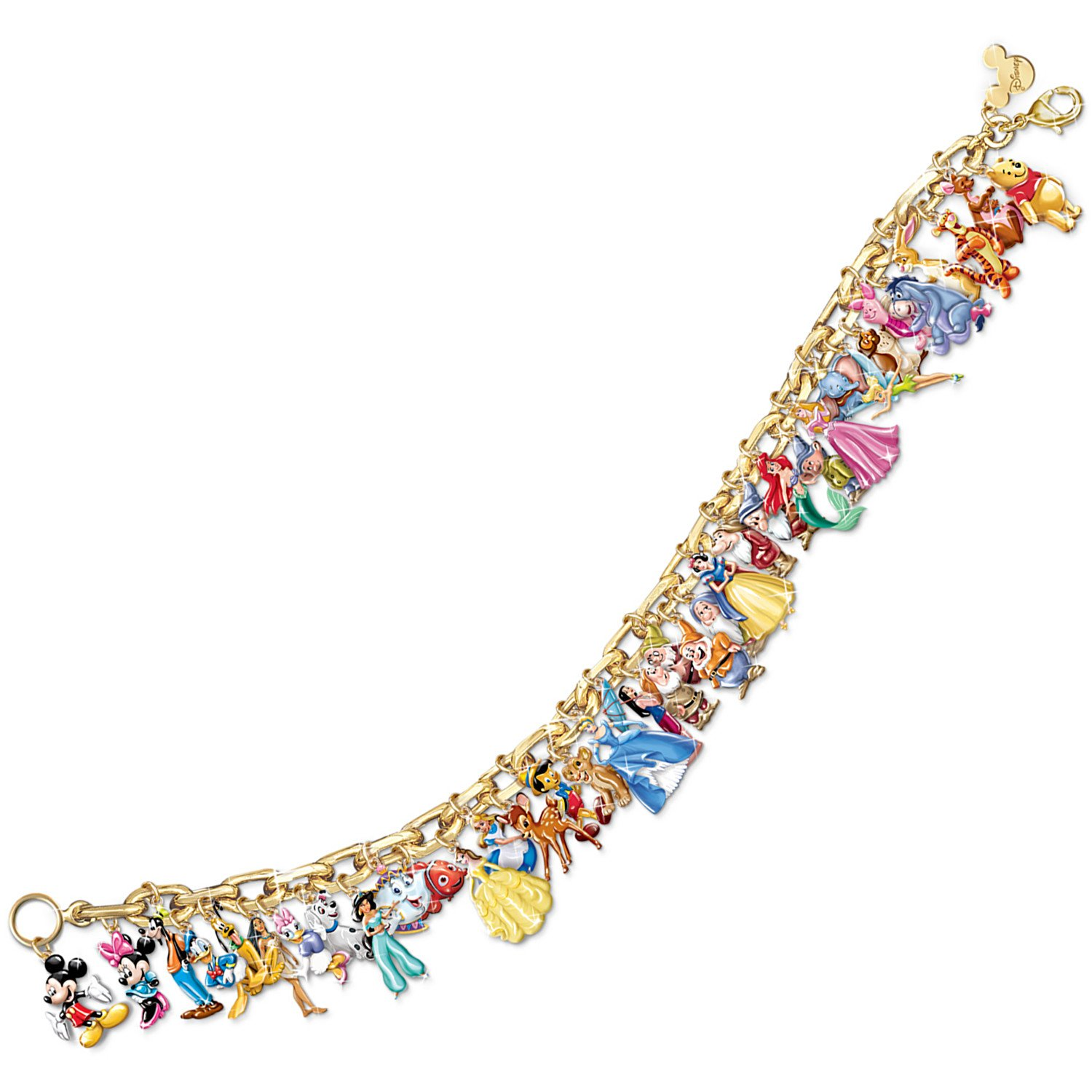 1e233ac72 Amazon.com: 24k Gold Plated Ultimate Disney Classic Charm Bracelet  Featuring 37 Disney Characters By the Bradford Exchange: Link Charm  Bracelets: Jewelry