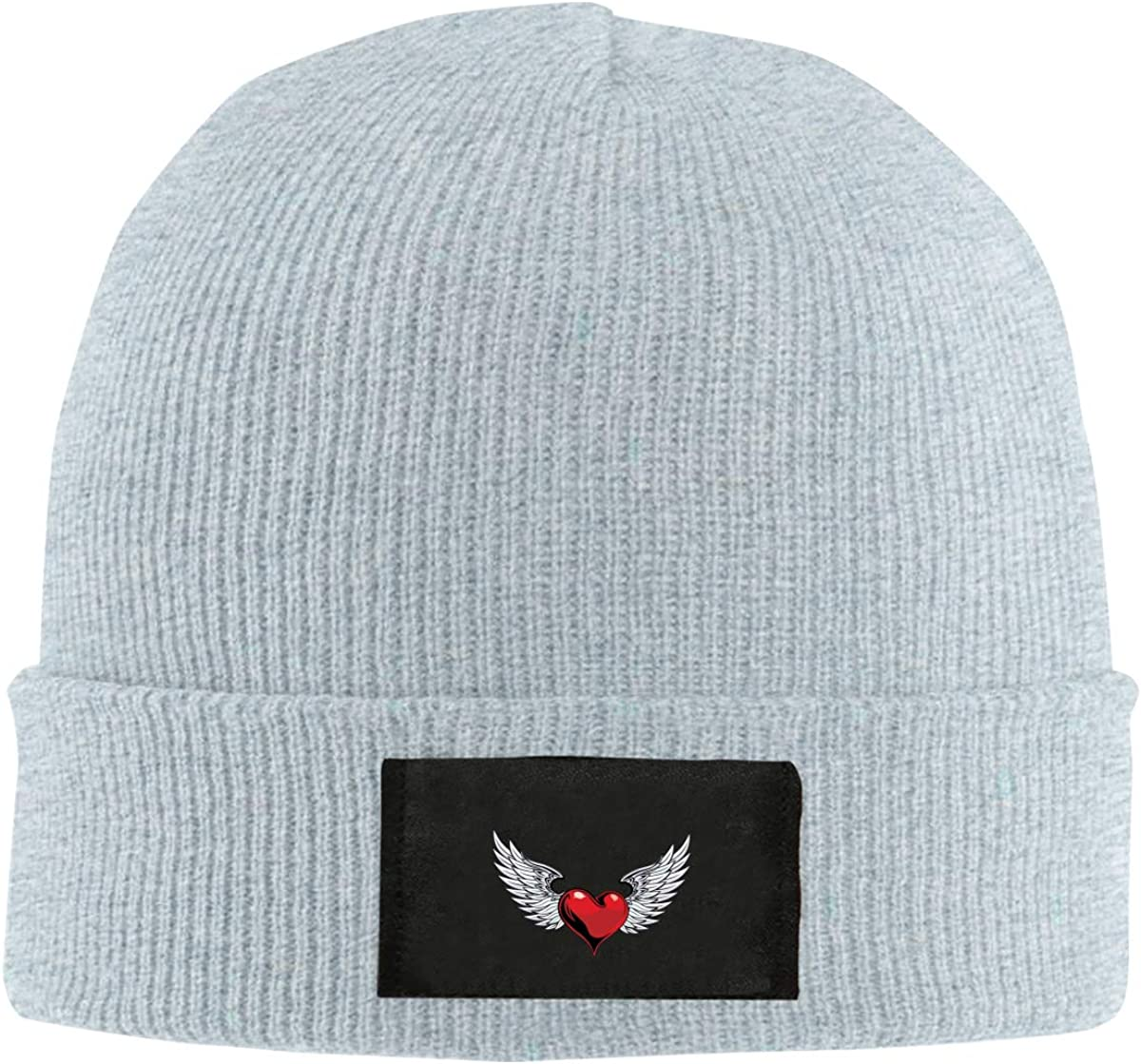 Graphics Heart and Angel Wings Top Level Beanie Men Women Unisex Stylish Slouch Beanie Hats Black