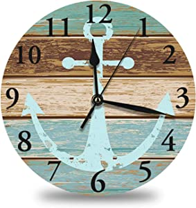 Anchor Clock,Timeworn Marine on Weathered Wooden Planks Rustic Nautical Theme Round Wall Clock,Battery Operated,Large Clock,14 Inch Analog Quiet Desk Clock for Kitchen,Home,Office,School