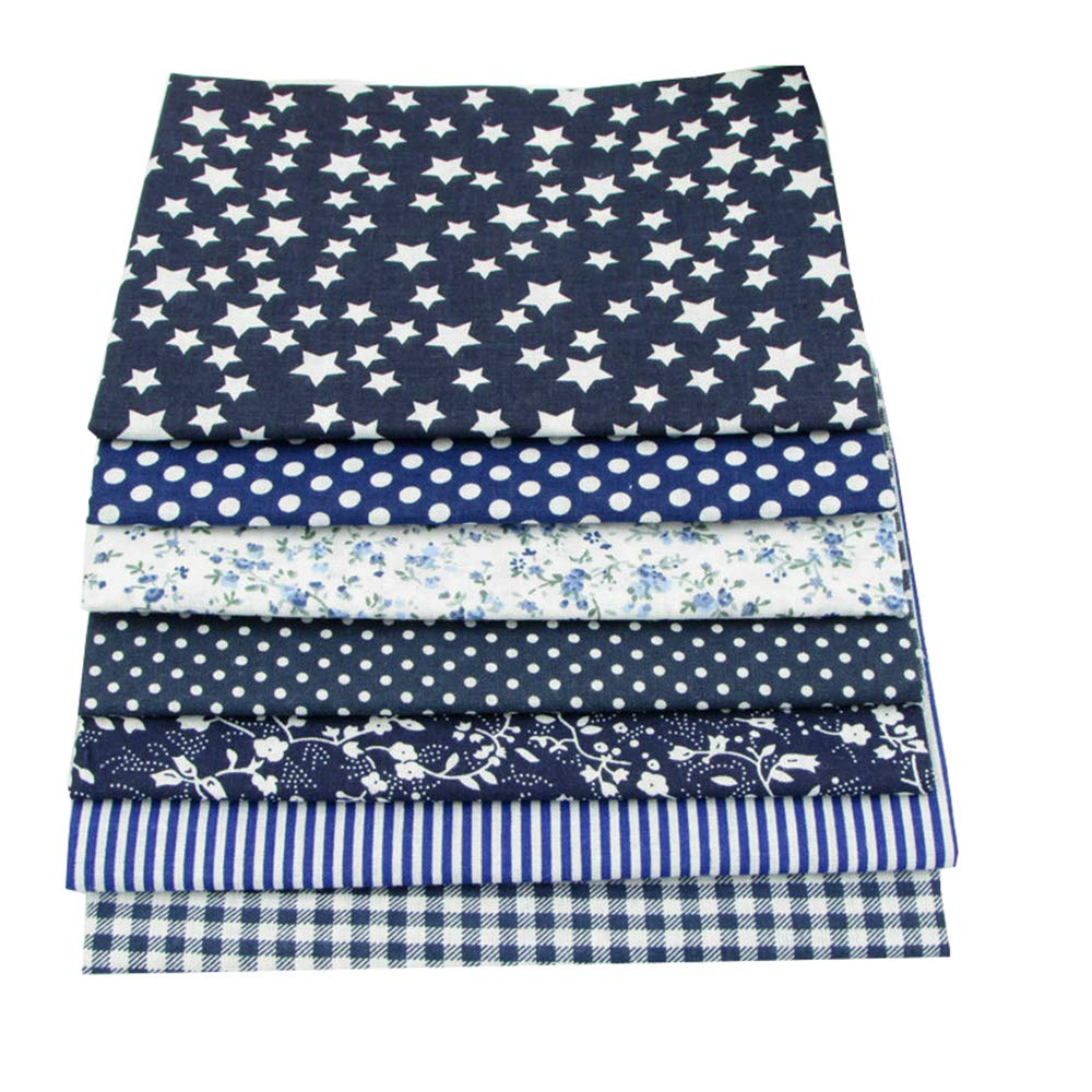 7 Pcs Cloth Fabric Cotton Fabric for Quilting 5050cm - Dark Blue Series BYY FABRIC FACTORY