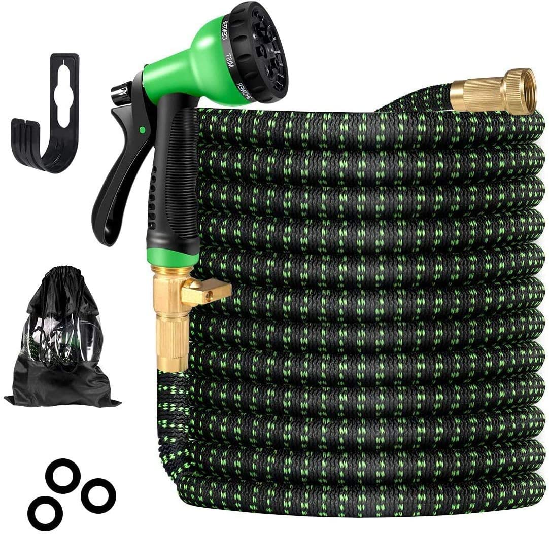Leakproof Design Durable 3-Layers Latex Core /& 3//4 Solid Brass Fittings Garden Hose Expanding Flexible Water Hose with 8 Function Nozzle No-Kink Flexibility