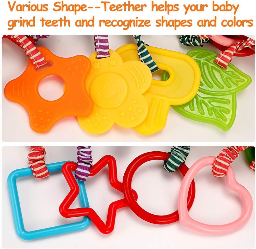 tumama Baby Toys for 0 3 6 12 Months,Handbells Baby Rattles with Teethers Soft Plush Early Development Stroller Car Toys for Infant 9 4 Pack Newborn Birthday Gifts