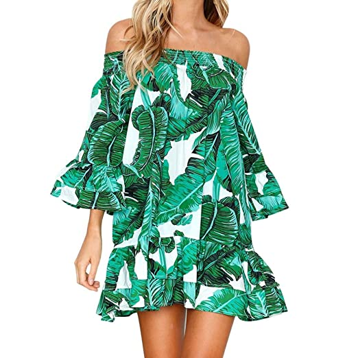 6074ae0b60 BSGSH Off Shoulder Dresses for Women Tropical Palm Leaves Print Bell Sleeve  Ruffle Casual Beach Sundresses