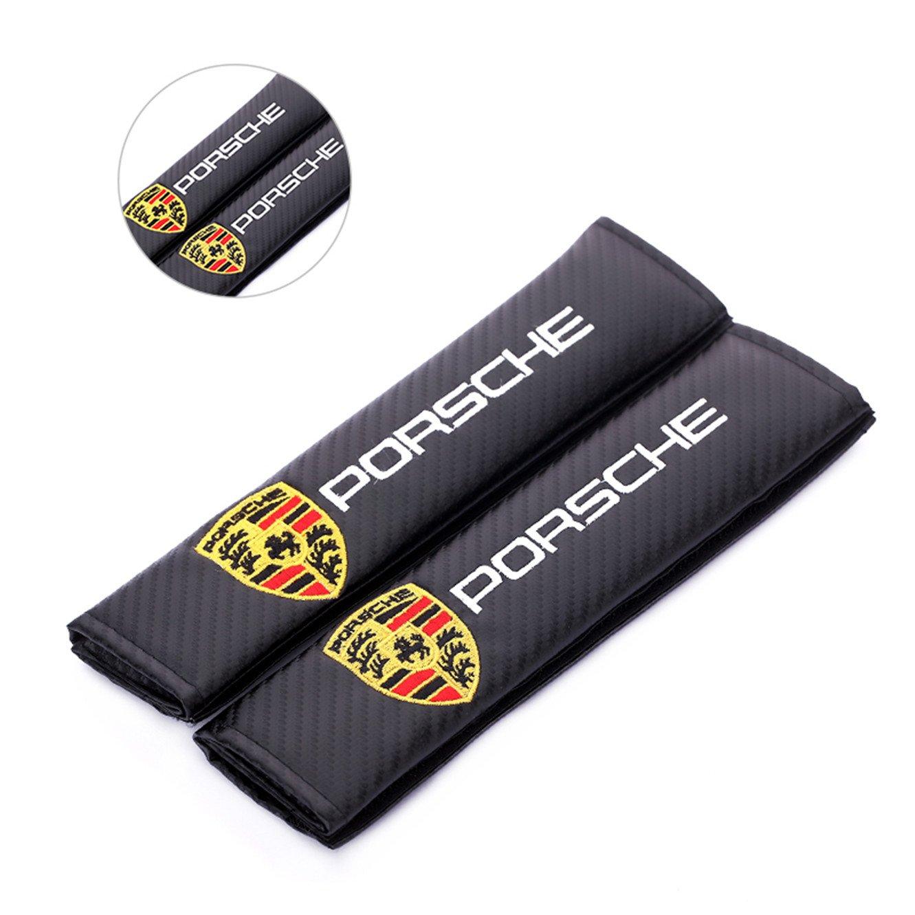 Y&F Boutique shops Porsche. Cuscino della Spalla del Rilievo della Cinghia della Cinghia di sede dell'automobile del Ricamo + della Fibra del Carbonio 2pcs per