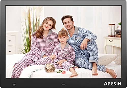 Digital Picture Frame, APESIN 14.1 Inch HD Screen with Motion Sensor Black