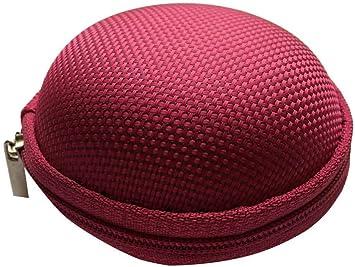 Estuche rígido para audífonos, redondo, con cremallera, color rosa: Amazon.es: Salud y cuidado personal