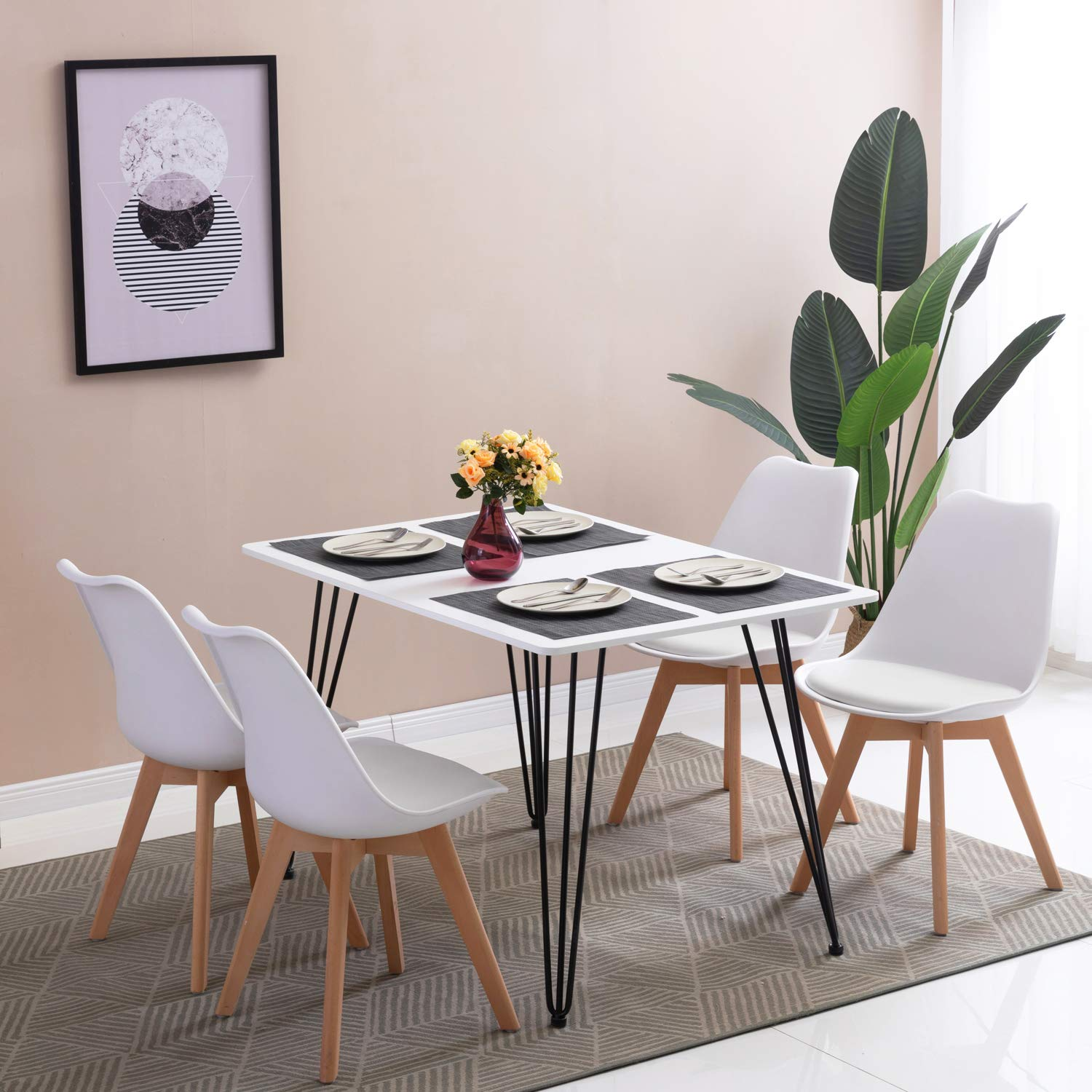Round Oak Kitchen Table And Chairs: Round Dining Table And Dining Chairs Retro Solid Wood For