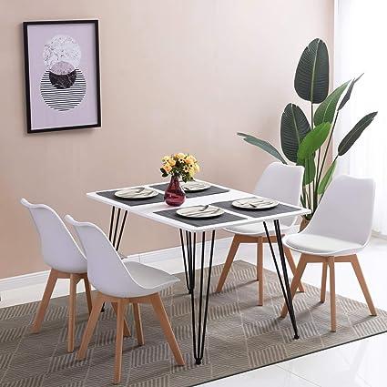 Hj Wedoo Scandinave Design Table à Manger Rectangulaire Table De Cuisine Avec Pieds En Dépingle à Cheveux 120 80 75 Cm Blanc