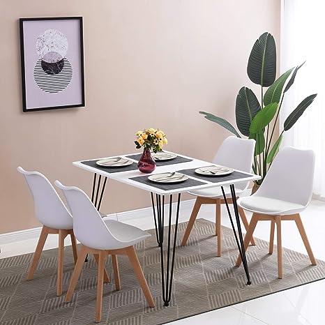 Tavoli Da Cucina Design.Hj Wedoo Tavolo Da Pranzo Design Moderno Forma Rettangolare Superfice In Mdf Con Gambe A Forcina 120 X 80 X 75 Cm