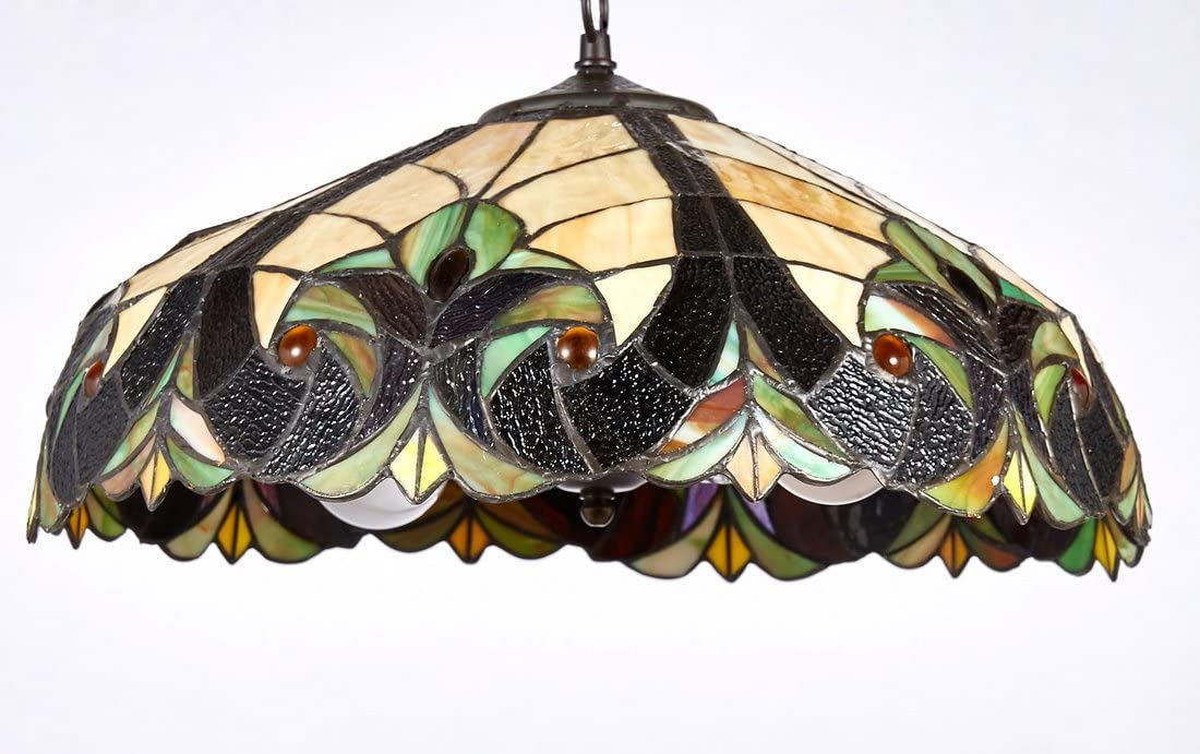 Diamond Life Tiffany Style Stained Glass Hanging Lamp Ceiling Fixture TL16006, 18-inch Wide