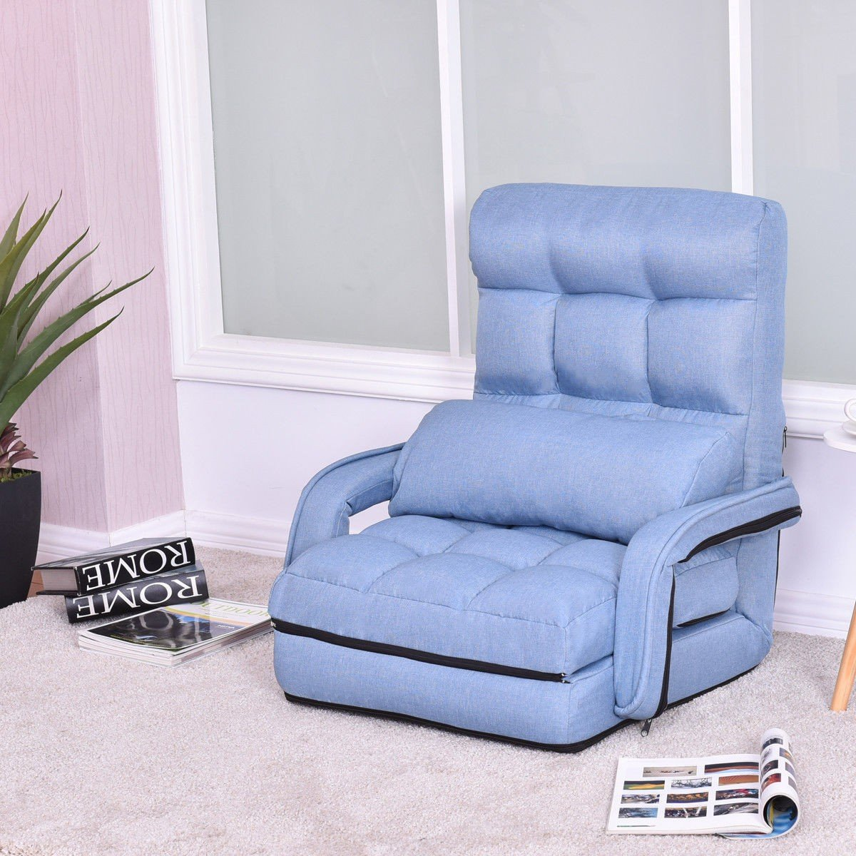 MD Group Folding Lazy Floor Chair Sofa with Armrests and Pillow, Blue