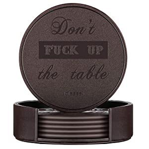 Funny Coasters, Thipoten Leather Coasters with Holder, Protect Furniture from Water Marks Scratch and Damage(6Pcs, Brown)