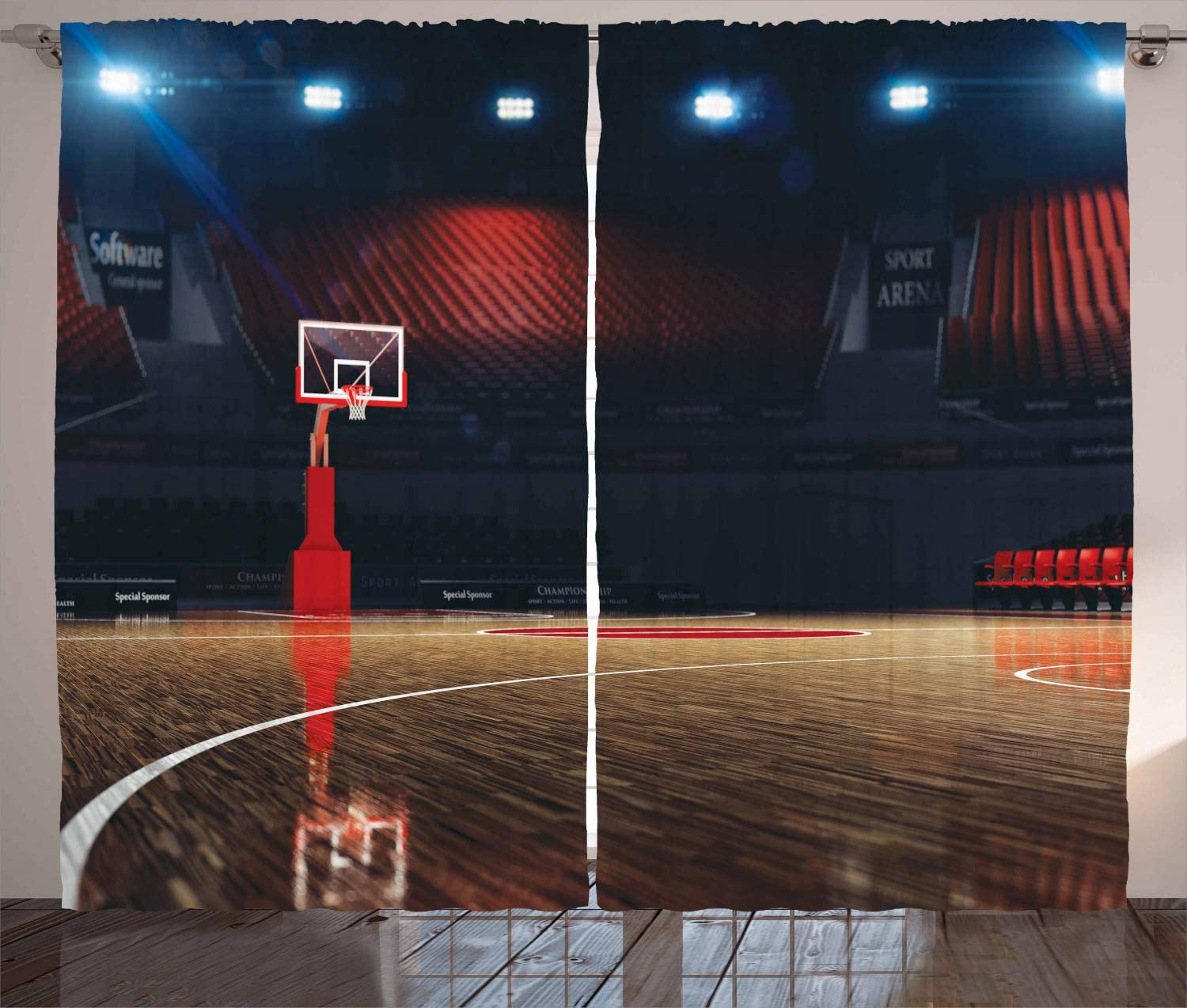 Ambesonne Basketball Curtains, Picture of Empty Court Sport Arena Wood Floor Print Active Life, Living Room Bedroom Window Drapes 2 Panel Set, 108
