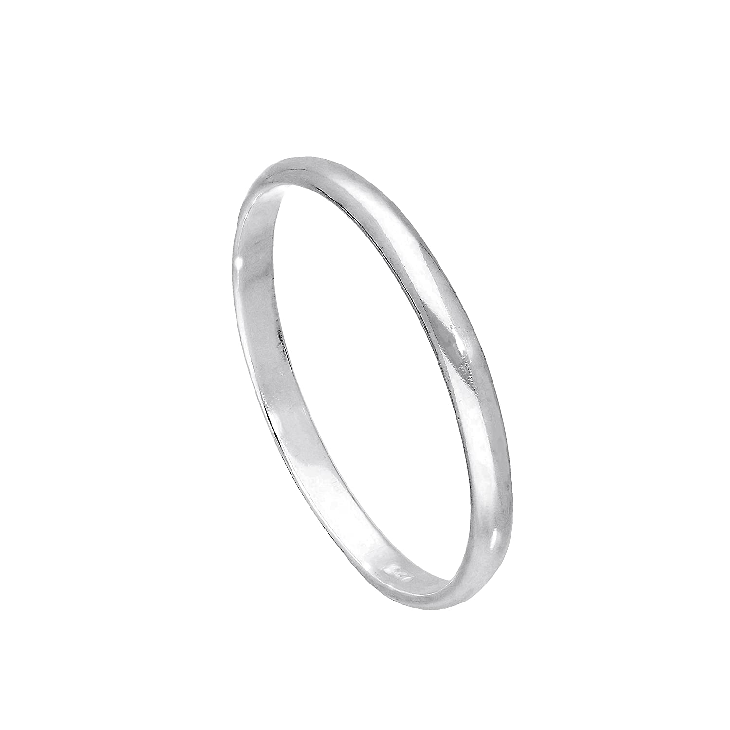 Sterling Silver 2mm D Shaped Wedding Band Ring Size E - W jewellerybox HAR-0886