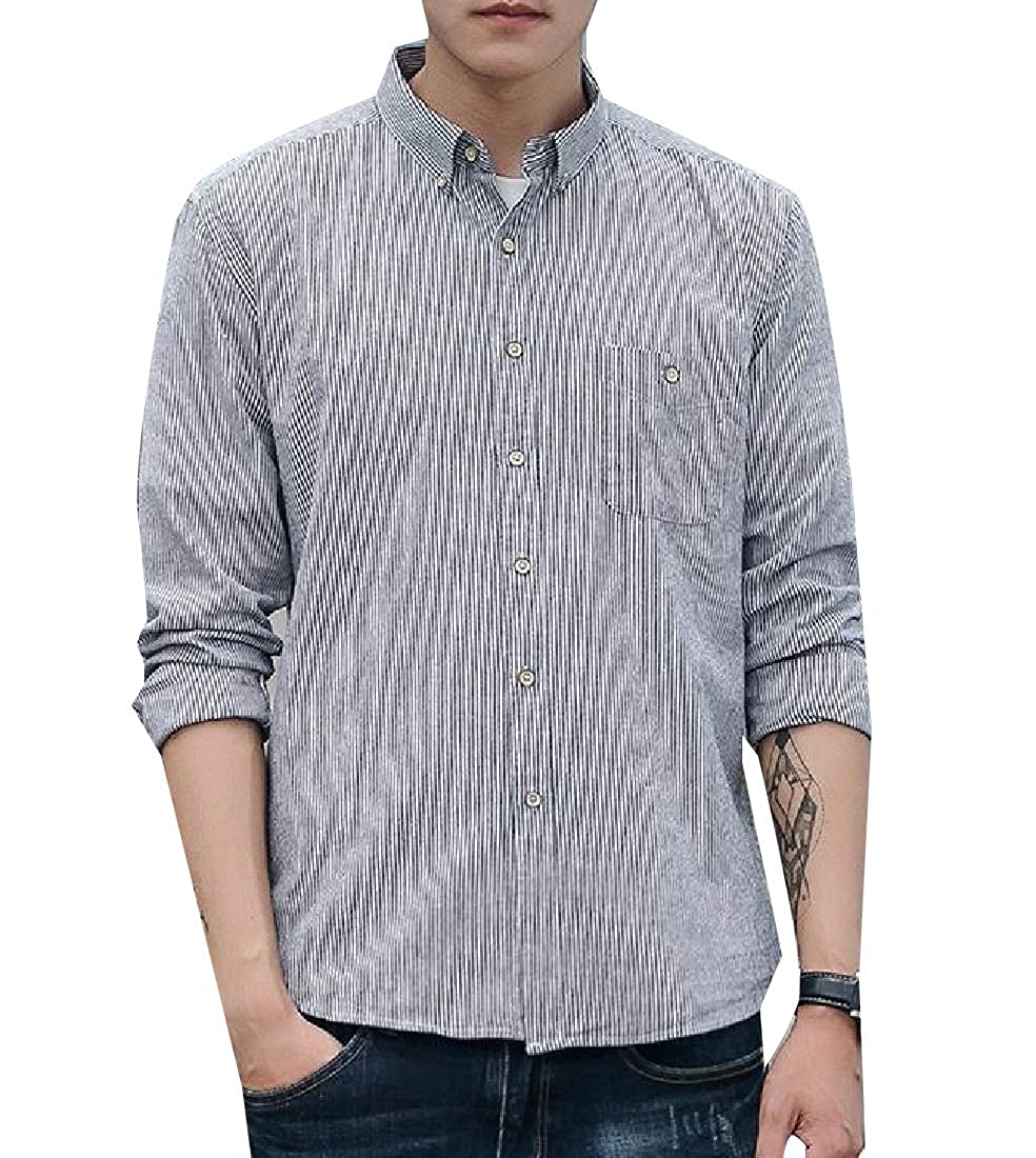 Zimaes-Men Fit Long-Sleeve Stripes Relaxed Button Cotton Western Shirt