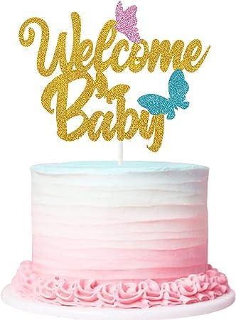 Hello Baby Glitter Cake topper New Baby Baby Shower Gender Reveal