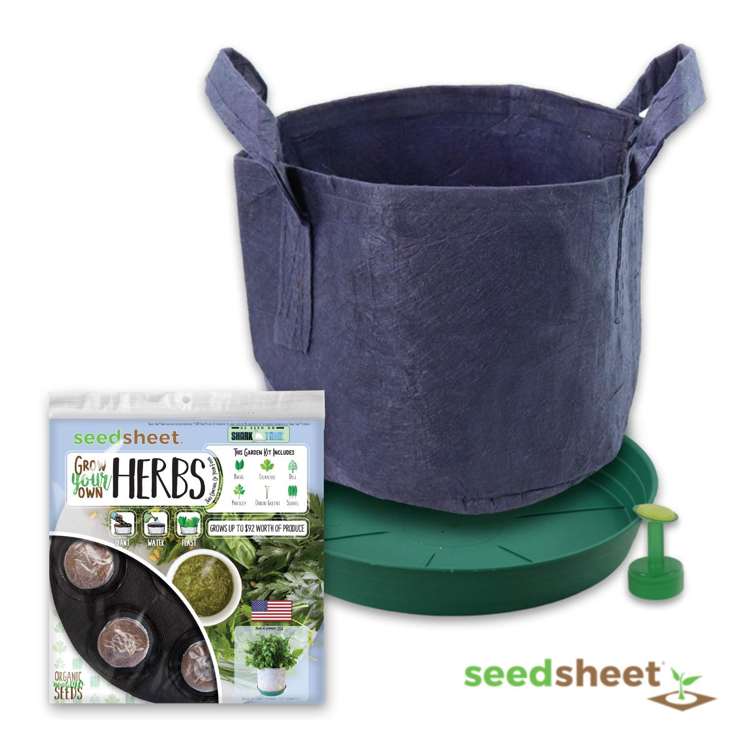 Home Garden Seeds - Seedsheet Grow Your Own Organic Gardening Pods - Eco Friendly Homemade Ingredients with Fabric Container - Partial Kit (Herbs)