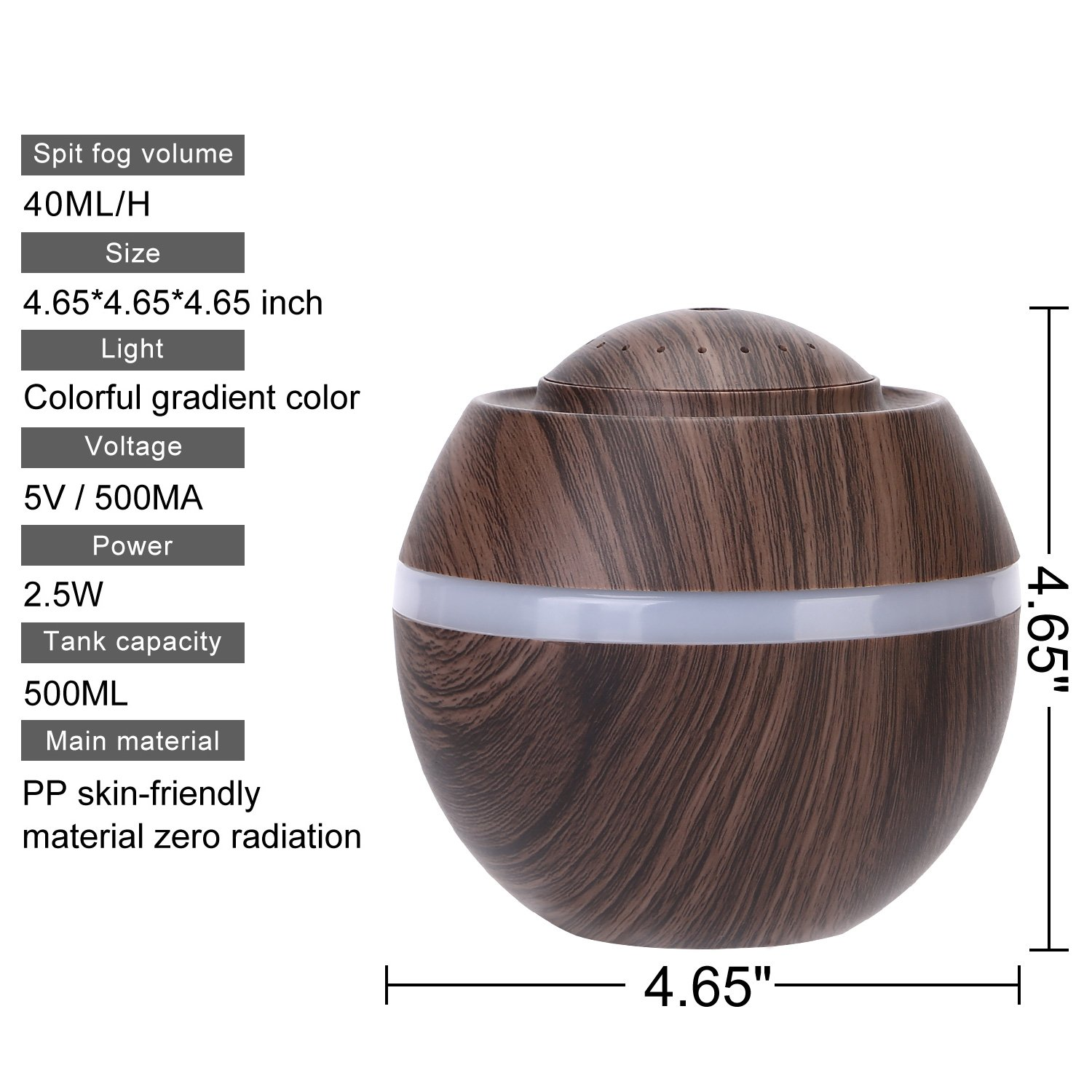 Cool Mist Humidifier Ultrasonic Aroma Essential Oil Diffuser for Office Home Bedroom Living Room Study Yoga Spa - Wood Grain (Brown) by O'abazar (Image #5)