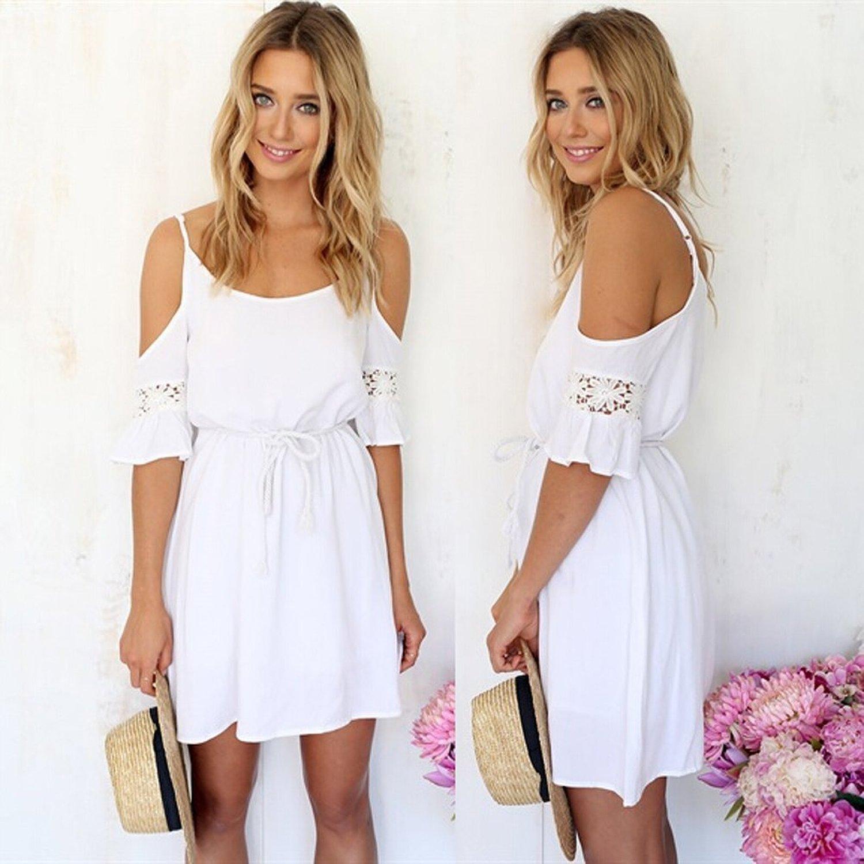 Minetom Fashion Damen Sommerkleid kurz sexy Schulter Kleid Rock ...
