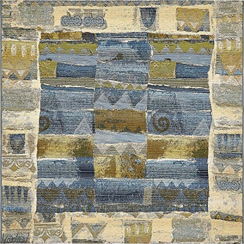 A2Z Rug Indoor/Outdoor Blue 6' x 6' - Feet Marbella Collection Area rugs - Perfect for Outdoor Area's & Indoor
