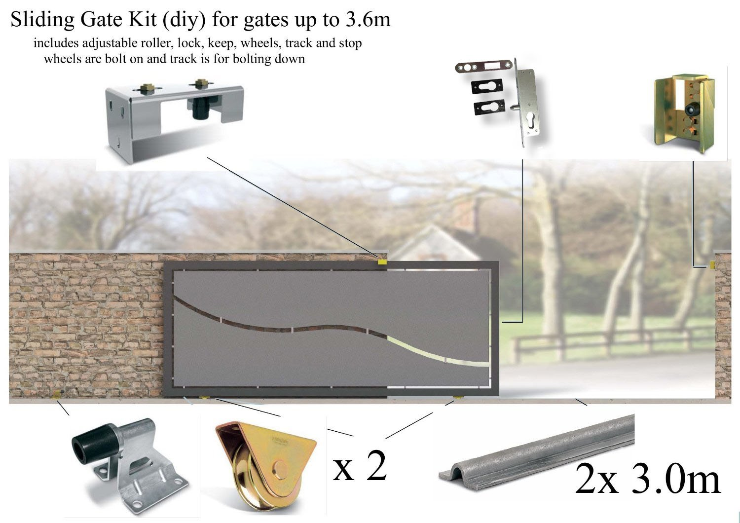 Bolt Down Sliding Gate Kits, contains Rails, Keep, Latch Housing, All basic Hardware Various sizes Available (Up to 1.8M) Rolling Centre