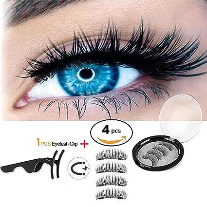 90fa4c7b7f9 Dual Magnetic False Eyelashes,Magnetic Eyelashes Pack, Solid Eyelashes False  3d Curved Eyelashes with Metal Eyelash Applicator: Amazon.co.uk: Kitchen &  Home