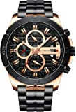 Mens Luxury Watches Business Chronograph Dress Waterproof Stainless Steel Analog Quartz Wrist Watch
