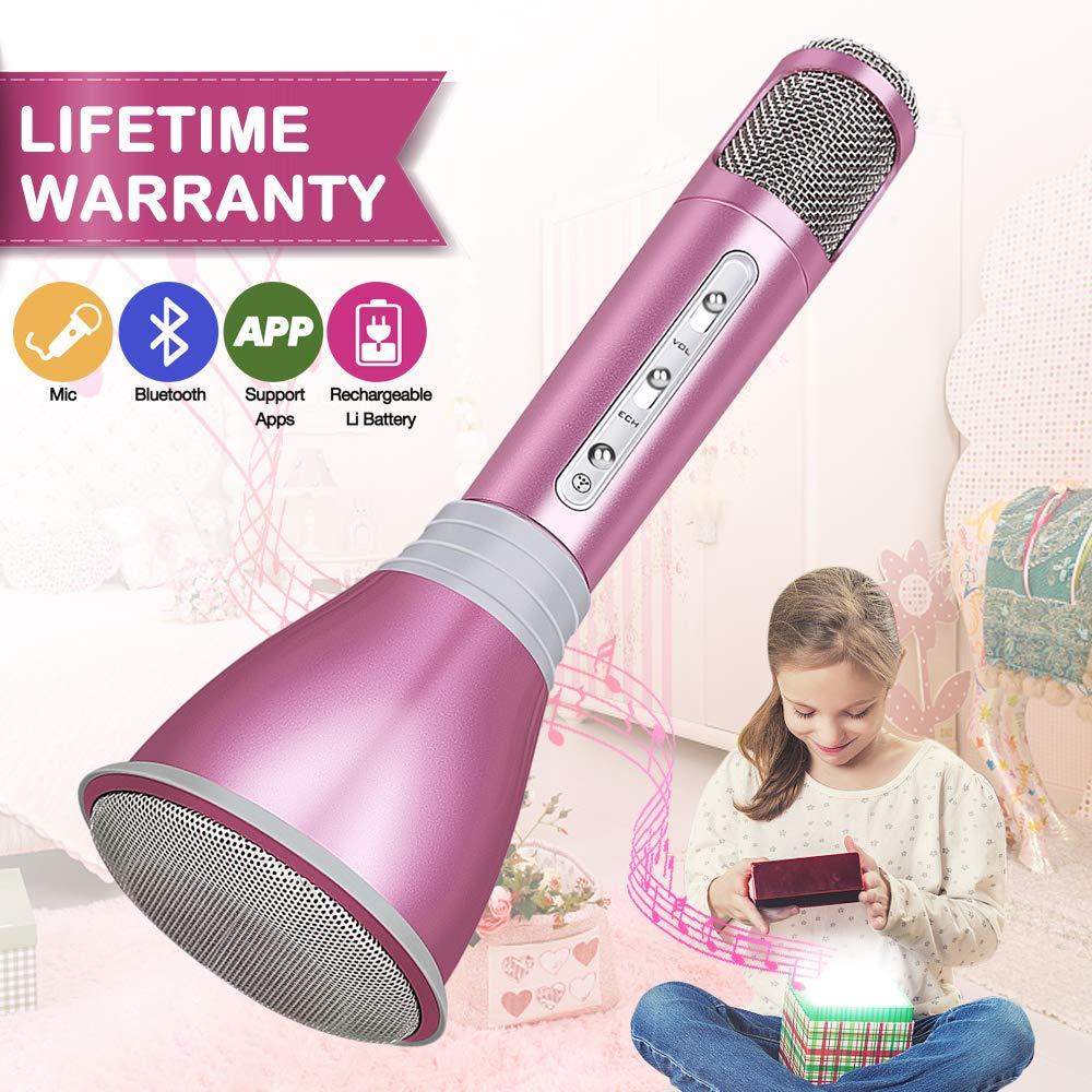 Microphone Bluetooth sans Fil, Microphone Micro Karaoke Player Enregistrement avec Portable Haut-Parleur pour iPhone iPad PC Android IOS Smartphone (Rose)