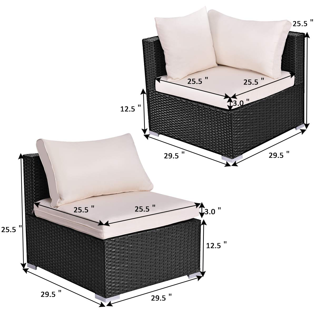 1 Corner Sofa+ 1 armless Sofa Tangkula Outdoor Wicker Furniture Set Infinitely Combination Cushion Wicker