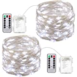 AMIR Led Fairy String Lights, 16.4ft 50 Led Starry Fairy Lights With Remote Control, 8 Modes Waterproof Decorative Lights For Outdoor Bedroom Garden Wedding Christmas (Battery Operated - Pack of 2)