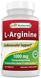 (New Improved Formula) Best Naturals L-Arginine 1000 mg 120 Tablets - Pharmaceutical Grade L Arginine Supplement Promotes Nitric Oxide Synthesis