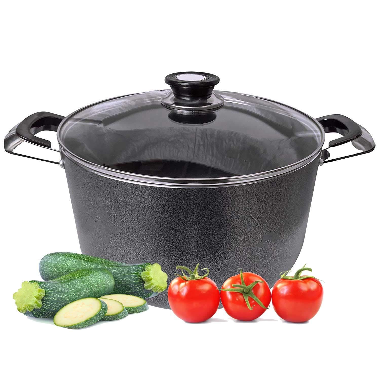 18Qt Dutch Oven Non Stick Heavy Gauge Aluminum Big Large Casserole Pot With Glass Lid For Healthy Cooking